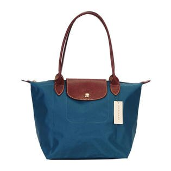 [2605-S號]國外Outlet代購正品 法國巴黎 Longchamp  長柄 購物袋防水尼龍手提肩背水餃包 孔雀藍