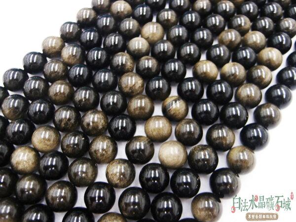 白法水晶礦石城 墨西哥 天然-金曜石 14mm 礦質 串珠/條珠 首飾材料