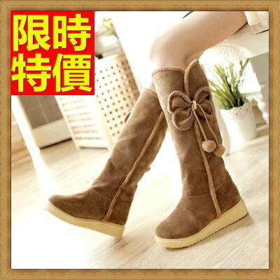 雪靴 女長筒靴-蝴蝶結防水防滑加絨保暖高筒平底女靴子3色64aa29【韓國進口】【米蘭精品】