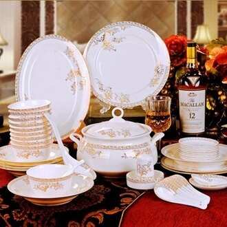 陶瓷餐具套組 含碗盤餐具-歐式骨瓷碗盤56件天鵝湖禮盒組64v7【獨家進口】【米蘭精品】