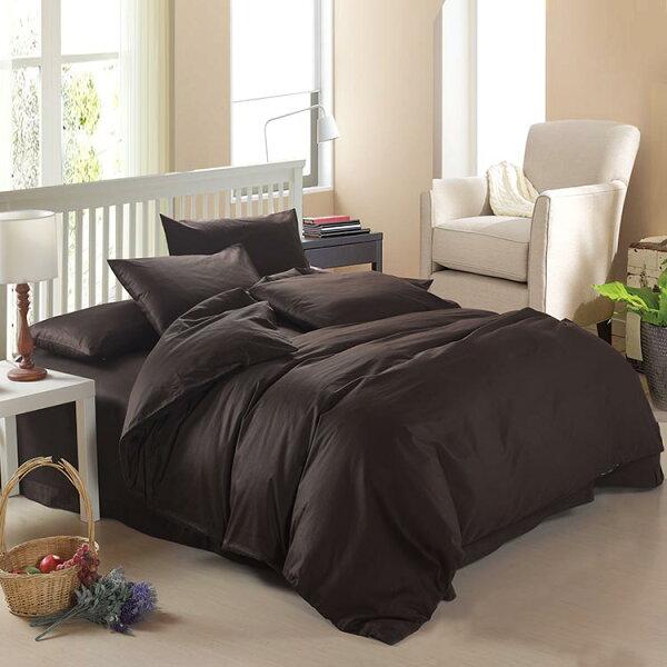 雙人寢具組四件套含枕頭套棉被套床罩-純棉單色精品床包組11色65i1【獨家進口】【米蘭精品】