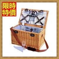 野餐籃打造貴婦風格野餐籃 編織籃子含餐具組合-戶外六人簡約藍白條郊遊用品68e17【獨家進口】【米蘭精品】