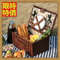 野餐籃打造貴婦風格野餐籃 編織籃子含餐具組合-田園休閒四人套組郊遊用品68e20【獨家進口】【米蘭精品】