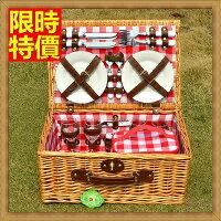 野餐籃打造貴婦風格野餐籃 編織籃子含餐具組合-戶外保溫保冷四人份郊遊用品68e28【獨家進口】【米蘭精品】