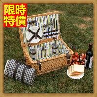 野餐籃打造貴婦風格野餐籃 編織籃子含餐具組合-戶外手提二人份收納郊遊用品68e30【獨家進口】【米蘭精品】