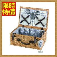 野餐籃打造貴婦風格野餐籃 編織籃子含餐具組合-藍白條紋四人份戶外郊遊用品68e31【獨家進口】【米蘭精品】