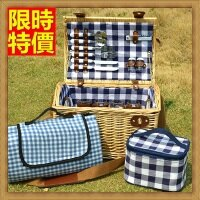 野餐籃打造貴婦風格野餐籃 編織籃子含餐具組合-格紋戶外手提四人份郊遊用品68e32【獨家進口】【米蘭精品】