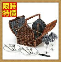 野餐籃打造貴婦風格野餐籃 編織籃子含餐具組合-二人份戶外踏青郊遊用品68e37【獨家進口】【米蘭精品】