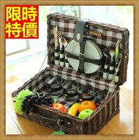 野餐籃打造貴婦風格野餐籃 編織籃子含餐具組合-歐式懷舊格子四人份郊遊用品68e40【獨家進口】【米蘭精品】