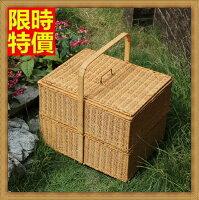 野餐籃打造貴婦風格野餐籃 編織籃子-上下兩層雙倍空間郊遊用品2色68e6【獨家進口】【米蘭精品】