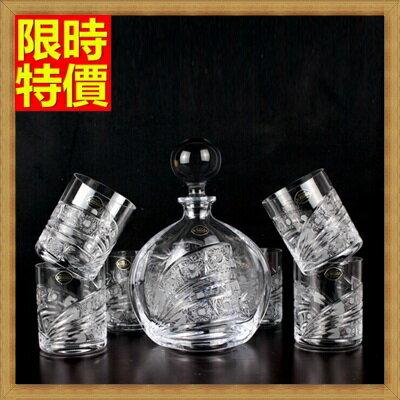 酒具套組套組含酒瓶+酒杯-玻璃瓶高貴水晶雕花威士忌7件套酒具用品68t28【獨家進口】【米蘭精品】