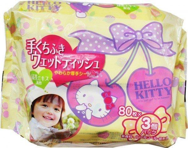 Hello Kitty 兒茶素手口用嬰兒抽取式濕紙巾 80抽*3入 (超值組) ☆真愛香水★