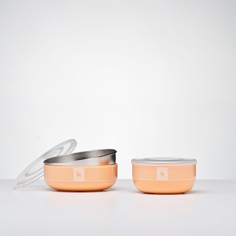 美國【Kangovou】 小袋鼠不鏽鋼安全兒童餐具簡配組(奶油橘) 1