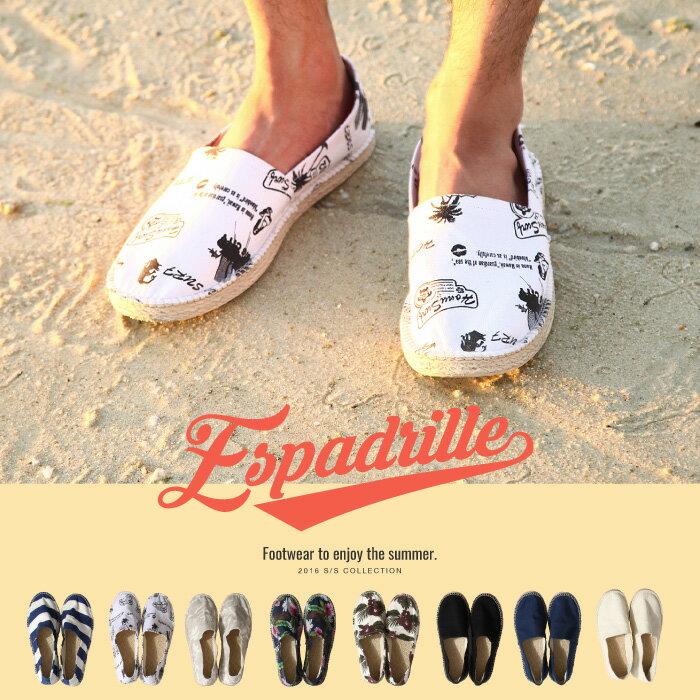 休閒鞋 懶人鞋 素色/印花 亞麻滾邊 ZIP Select 日本男裝 超商取貨 zip-tw【ha2260】