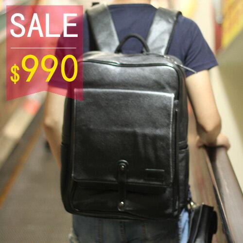 PocoPlus 黑色後背包 小荔枝皮 電腦包 手提包 大方包  斜背包 旅行包 休閒逛街包 【B103】