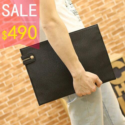 PocoPlus 素面拉鍊式信封包  韓版黑色手拿包 優質皮革 文件包 手抓包 公事包【B132】