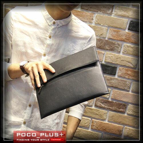PocoPlus 型男韓版手拿包 硬挺信封包 手抓包 文件包 簡約款 拉鍊式 手抓包【B419】