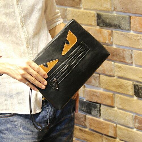 PocoPlus 正韓直達 怪獸眼 卡通款 手拿包 把手信封包 手機包 文件包 潮流包【B465】