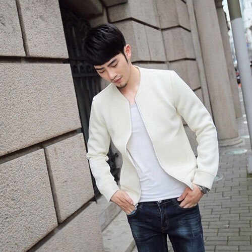 PoCo 韓式風格 韓系素色修身 韓版太空棉棒球外套 時尚休閒潮男萬用款【C179】