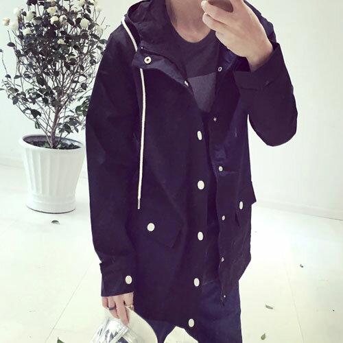 PoCo 韓式風格 韓系修身中長款風衣 歐美街頭風格 薄款立領連帽外套? 【C188】
