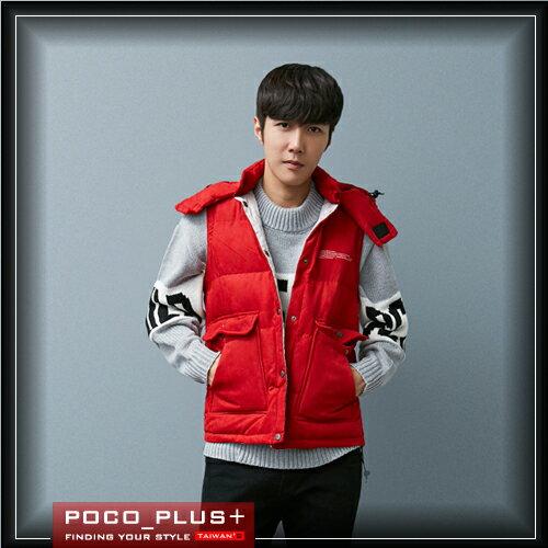 PocoPlus 背心 韓版 連帽 防風 加厚背心 飛行外套  簡約時尚款 韓系長版大衣【C264】