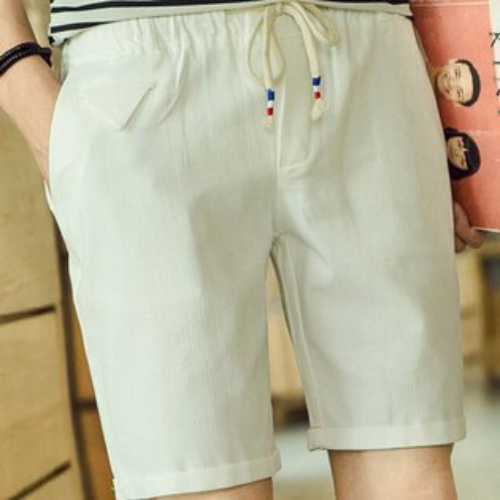 PocoPlus 韓版夏季亞麻短褲 男士時尚休閒短褲 五分褲 海灘褲 輕鬆自在  M103