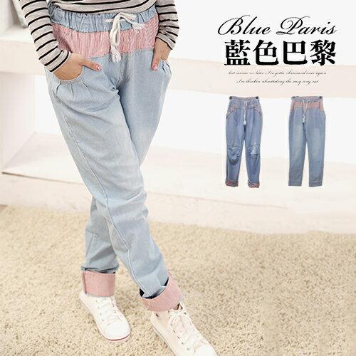 牛仔褲 - 縮腰抽繩刷色牛仔男友褲《2款》【31107】 ✿ 藍色巴黎 ✿ ☛ 現貨商品