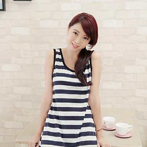無袖洋裝 - 混色寬條紋背心長洋裝【11899-A 】藍色巴黎《3色 》現貨 2