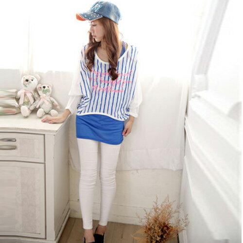 促銷免運 - 上衣 - 長袖兩件螢光直條英文上衣 《4色》藍色巴黎【22208】現貨 MIT 2