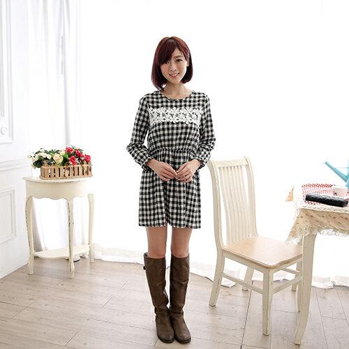 長袖洋裝 - 格紋蕾絲花朵珠縮腰毛料洋裝 【30031】 藍色巴黎 ☛ 現貨商品 1