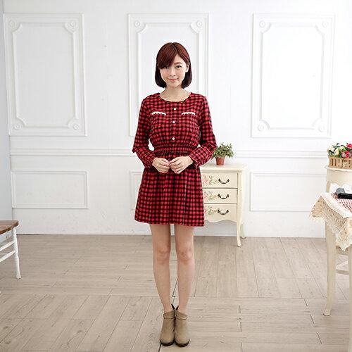 長袖洋裝 - 格紋蕾絲縮腰毛料連身裙《2色》 藍色巴黎 【30032】現貨商品 2