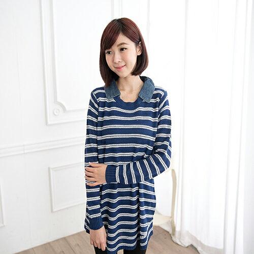 針織牛仔襯領條紋長袖上衣《2色》【38138】 ✿ 藍色巴黎 ✿ ☛ 現貨商品 1