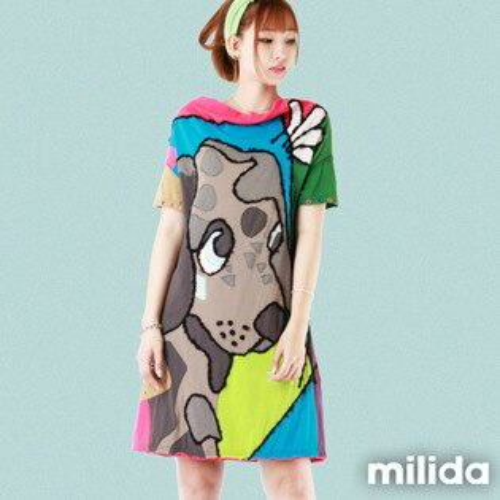 【milida】☆夏季尾聲☆拼貼款☆可愛dog洋裝