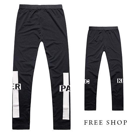 Free Shop【QR03051】歐美潮流型男風格PACKER十字架印花彈性棉質內搭長褲內搭褲