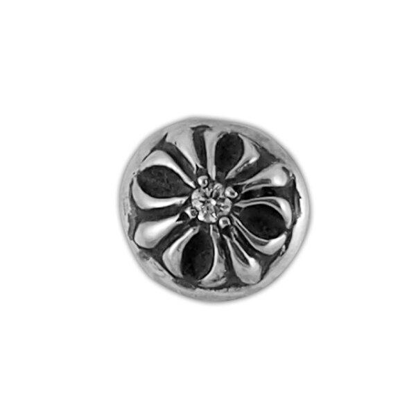 【現貨商品】【Chrome Hearts】圓形十字架純銀耳環 - 客製化鑽石款 (CHE-014-D)