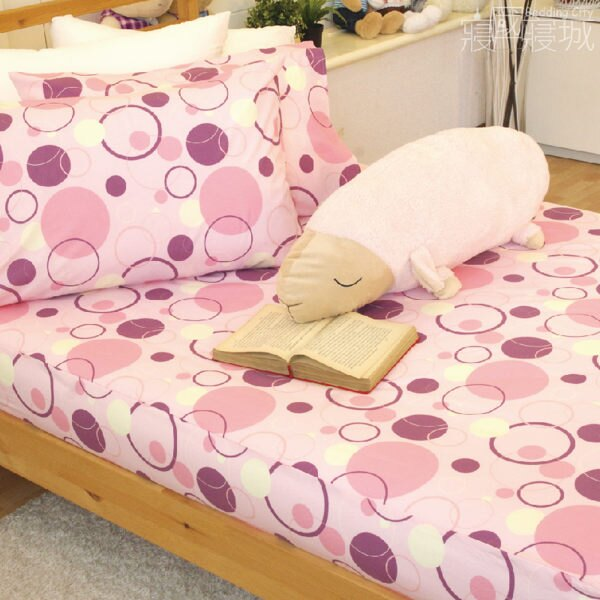 加大雙人床包(含枕套) 莓粉氣泡【超細纖維、飽滿色彩、觸感升級、SGS檢驗通過 】 # 寢國寢城 2