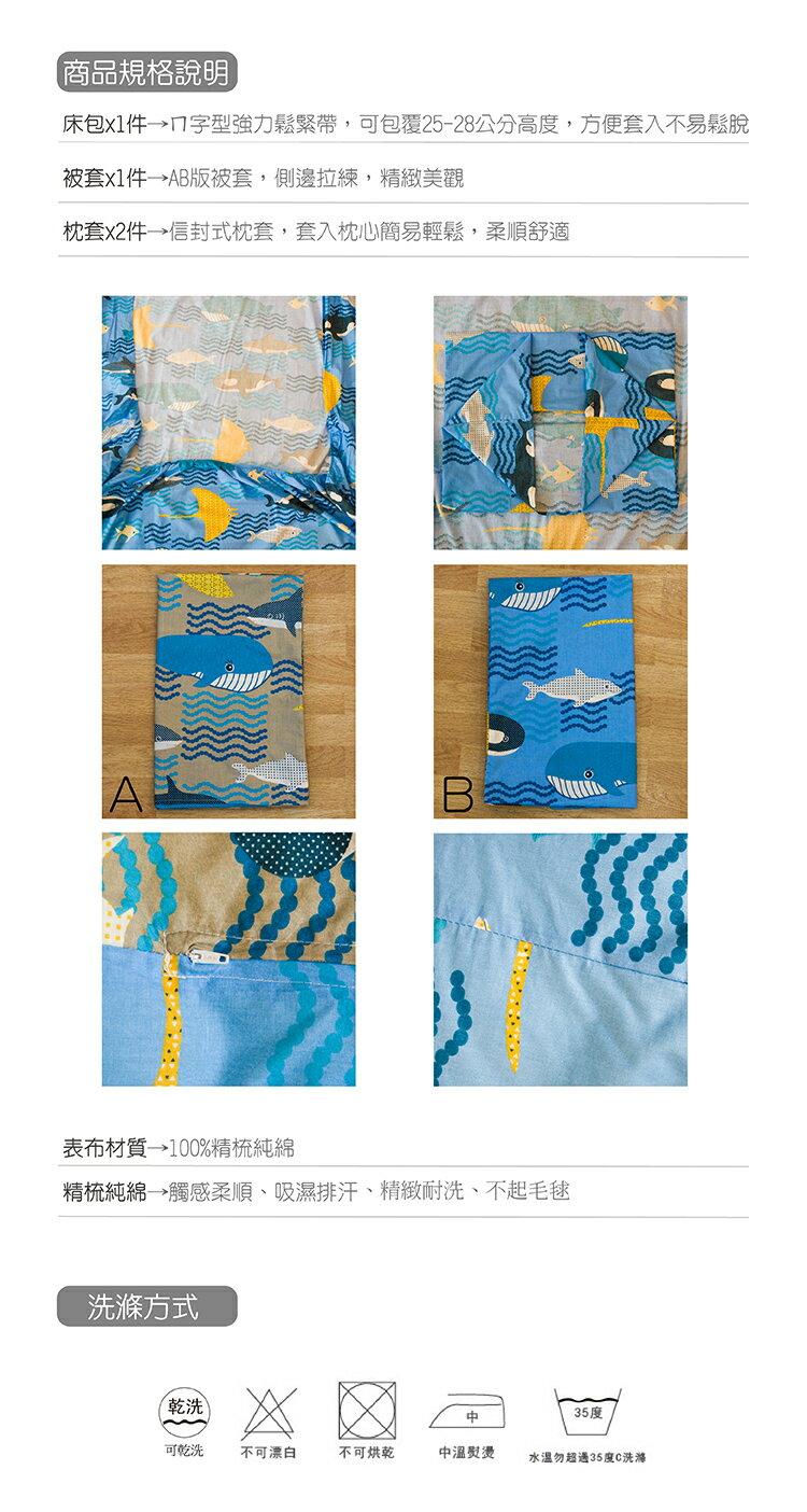 加大雙人床包被套四件組100%精梳棉-海底世界【大鐘印染、台灣製造】#精梳純綿 5