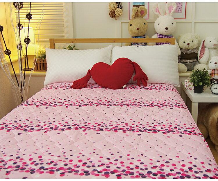 保潔墊單人床包式印花鋪棉 - 粉色點點 三層抗汙/環保/鋪棉/延緩滲入 3.5x6.2尺 寢國寢城 4