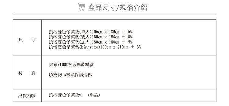 保潔墊 (雙人) 藍色-平鋪式 『奈米防污防水』 3層抗污型、可機洗、台灣製 #寢國寢城 8