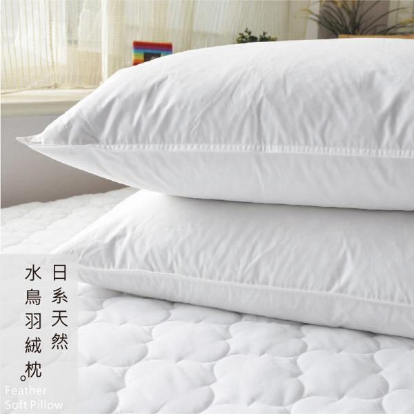 枕頭/日系天然水鳥羽絨枕(2入)【膨鬆、吸濕、無異味】台灣製 0