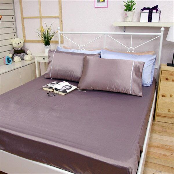 加大雙人床包枕套3件組【滑順不悶熱、台灣製】綢緞絲棉床包組#5色 0