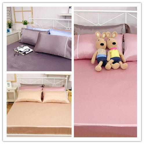 雙人床包枕套3件組【滑順不悶熱、台灣製】綢緞絲棉床包組#5色 # 寢國寢城 0