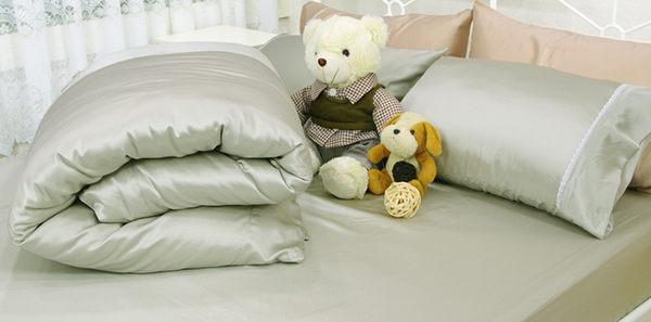 單人床包被套3件組【滑順不悶熱、台灣製】綢緞絲棉床包組 #5色 # 寢國寢城 1
