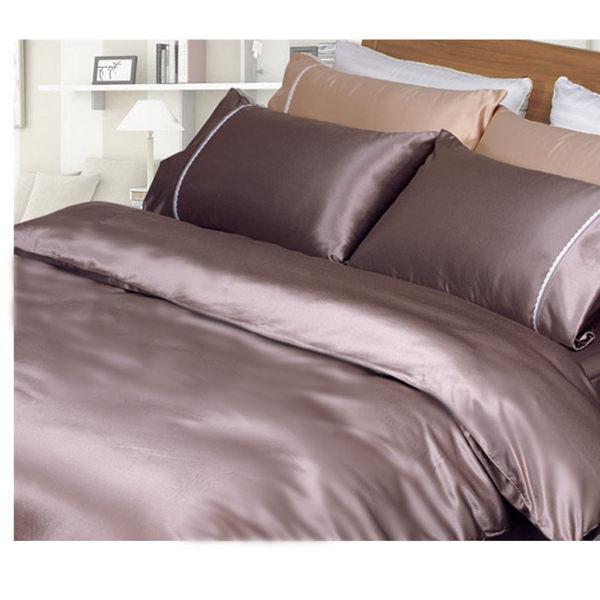 雙人床包被套4件組【滑順不悶熱、台灣製】5x6.2尺綢緞絲棉床包組 # 珍珠葡萄紫 # 寢國寢城 0