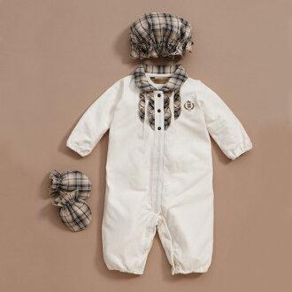 【金安德森】新生兒‧嬰兒禮盒-女生款格子領長兔裝