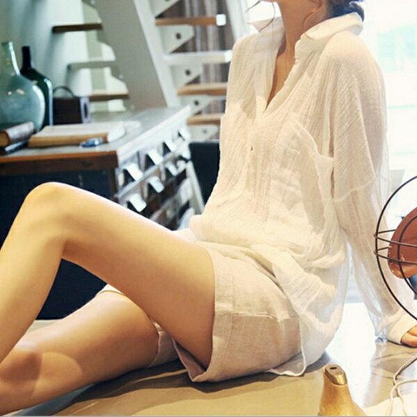 襯衫 韓版防曬縐褶棉麻薄襯衫外罩上衣 預購【51-12-817710】ibella 艾貝拉