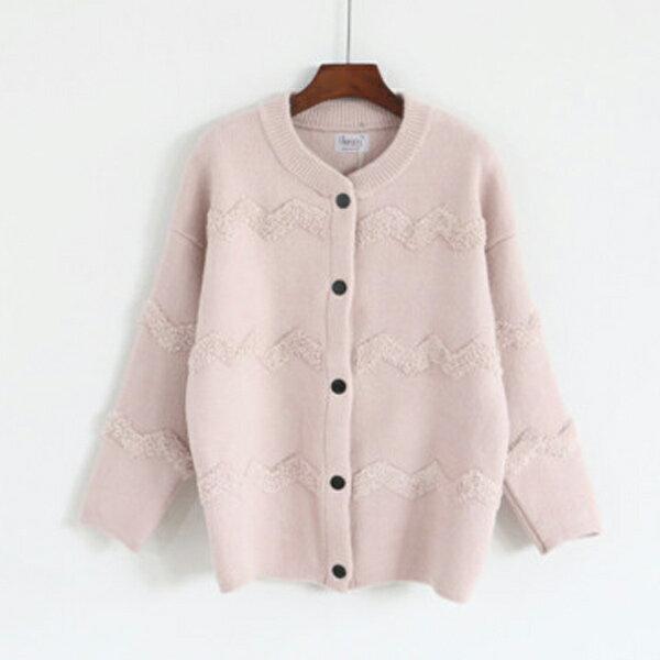 立體波浪紋針織外套毛衣保暖 日系 ~83~25~81420~ibella 艾貝拉