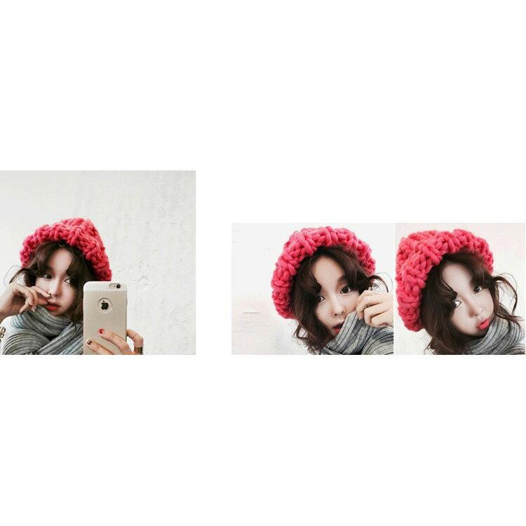 毛帽 素色粗線麻花捲邊針織毛帽【QI1599】 BOBI  10/13 1