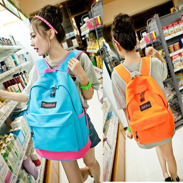 男女撞色後背包 雙肩背包 手提包 出國旅行包包 學生書包 媽媽包 --夏日時光