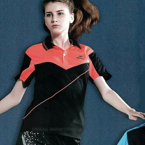 日本名牌Nittaku男女吸濕排汗短POLO衫-黑橘(#3637) - 限時優惠好康折扣